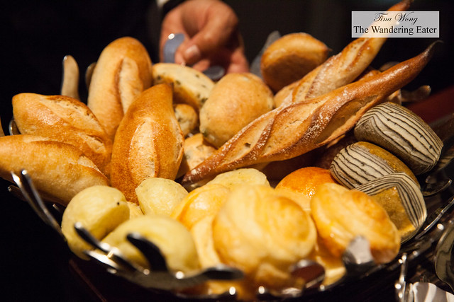 Bread basket of various delectable housemade rolls