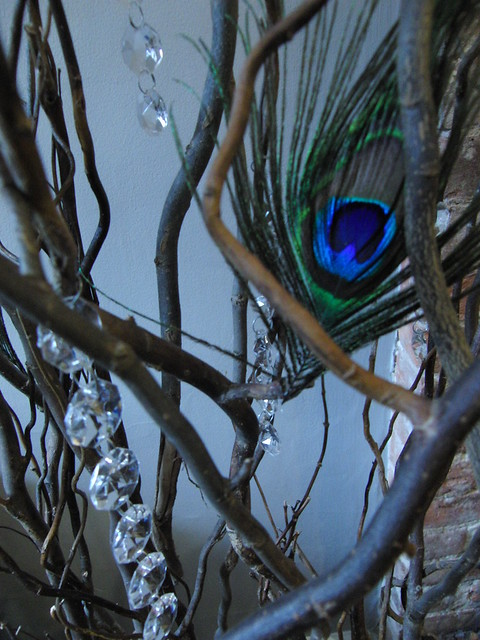 Peacock Feathers Willow Branches DIY wedding decor