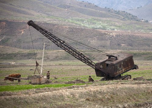 Old crane in the countryside - North Korea
