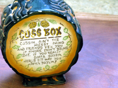 Vintage Ceramic Swear Jar or Cuss Box Coin Bank with Appalachian Hillbilly Motif - Made in Japan