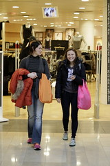sisters emerge from a shopping trip in the Gap
