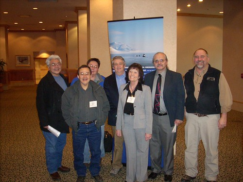 (Left to Right) Wilson Justin, Mt. Sanford Tribal consortium; William Beans, Azachorak Corporation; Dean Westlake, NANA Regional Corporation; Jim Nordlund, Alaska State Director, USDA Rural Development; Merlaine Kruse, Community Programs Director, Alaska USDA Rural Development; Tom Harris, Tyonek Native Corporation; Wes Lannen, General Field Representative, USDA Rural Development, Rural Utilities Service