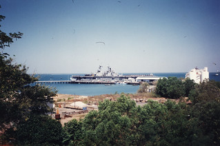 LHD 4 USS Boxer at Darwin's Stokes Hill Wharf in August 1997.