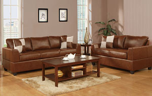 Brown Leather Sofa and love seat three  pillows $699.00