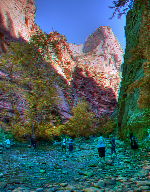 Anaglyph Crossing Zion at the Narrows