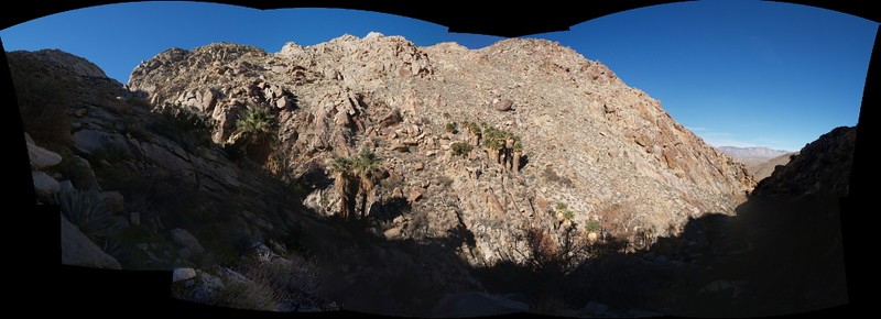 Panorama shot from the cooler, shady side of the canyon