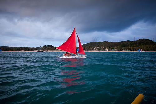 sunset sea island boat philippines sail boracay 海 日落 船 岛 菲律宾 crabboat 帆 长滩 螃蟹船
