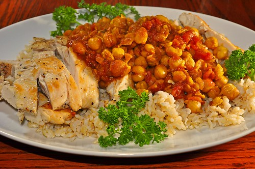 Mmm...curried chickpeas on grilled chicken and brown rice