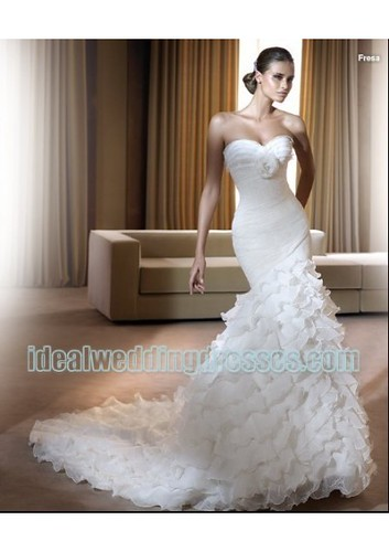 Organza Strapless Sweetheart Neckline with Rouched Bodice nd Mermaid Lavish Layers Skirt in Chapel Train Hot Sell 2011 New Custom Made Wedding Dress WD73 by churcy