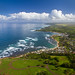Aerial of Waialua Bay and Haleiwa, Oahu