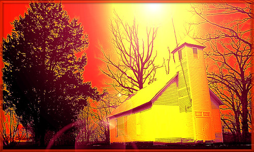ohio red orange black tree church silhouette yellow photoshop treesilhouette colorful digitalart highcontrast brightlight lensflare oh redsky oldchurch tinroof photoshop70 thelight historiclandmark seethelight redskies rcvernors altereduniverse rickchilders macedoniamissionarybaptistchurch thelightonmacedoniaridge charleycreekroad charleycreekhill
