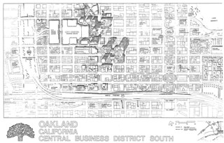 Oakland California Central Business District South map (1976)