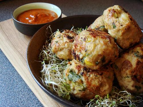 Turkey & Sweetcorn Meatballs with Roasted Pepper Sauce