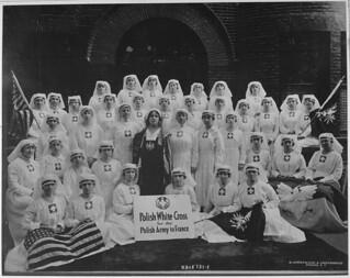 Group of Polish nurses who were recruited through the efforts of the president of the Polish White Cross, Madame Helena Paderewski.