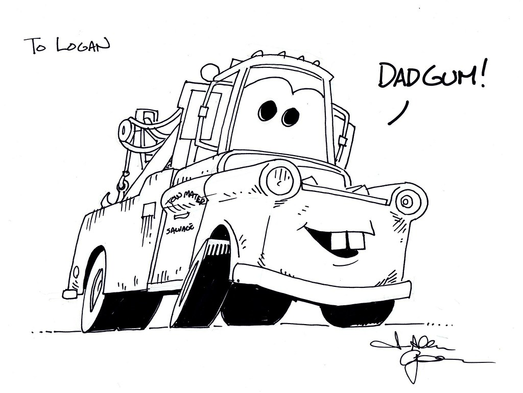 free disney cars mater coloring pages