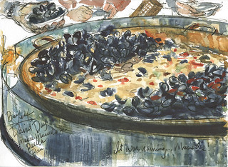 Paella Pan full of Mussels