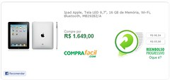 Ipad Apple, Tela LED 9,7, 16 GB de Memória, Wi-Fi, Bluetooth, MB292BZA