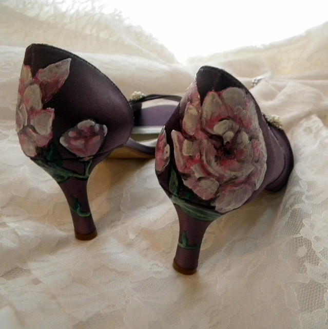 garden rose Wedding Shoes victorian aubergine painted rose garden
