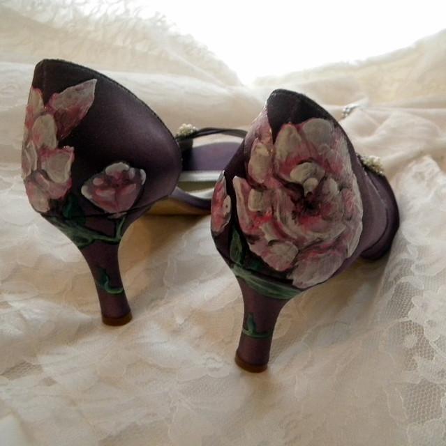 garden rose Wedding Shoes victorian aubergine painted rose garden