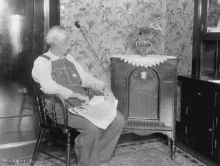 Photograph of Farmer Listening to Radio Discussion, Clarkston, Utah, 08/1933