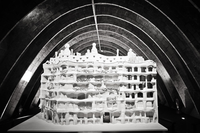 A model of Gaudi's Casa Milà housed in the building's arched attic.