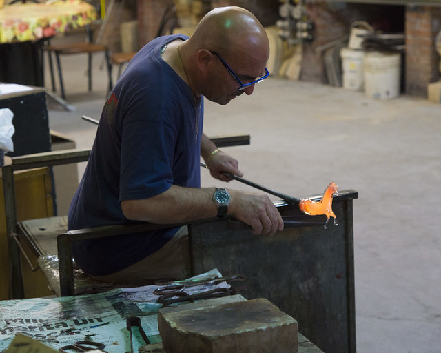 Glass blowing in the Murano island
