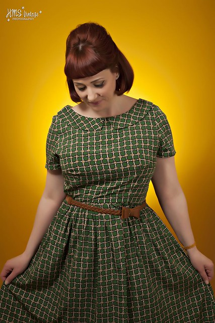Vintage photoshoot wearing my Emery Dress