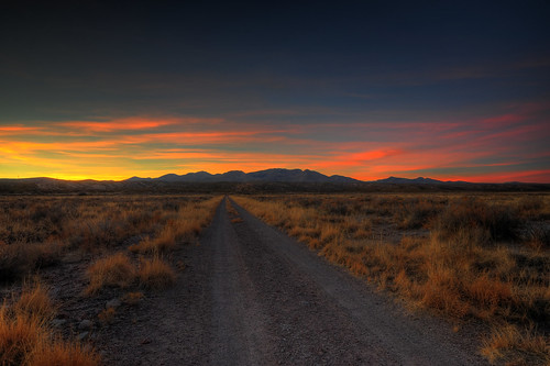 Desert road sunset- HDR