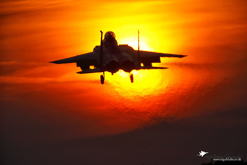 McDonnell Douglas F15E Strike Eagle landing at sunset RAF Lakenheath Suffolk