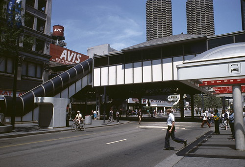 View of an Elevated Station over State Street at the Intersection with Lake Street in 1982