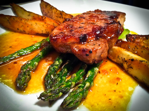 Pork Chop w/ Apricot White Wine Reduction Sauce