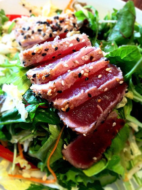 Grilled Tuna With Cucumber Salad Recipe — Dishmaps
