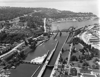 Aerial of Hiram Chittenden Locks, 1963