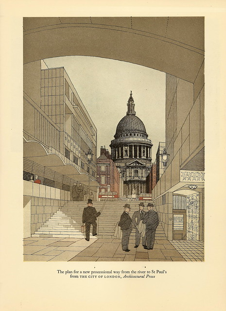 St Paul's from the river bank - illustration by Gordon Cullen, 1949