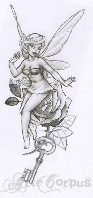 Dessin du tattoo f e avec rose et clef flickr photo sharing - Roses dessins ...