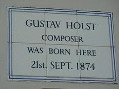 Photo of Gustav Holst white plaque