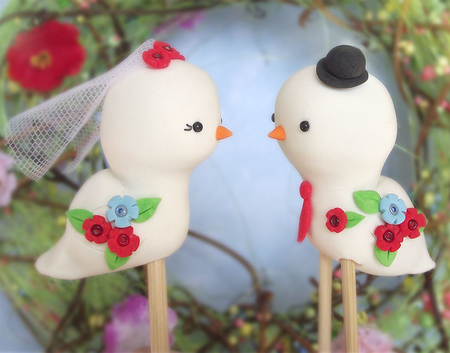 Love birds cake toppers Red aqua blue orange details