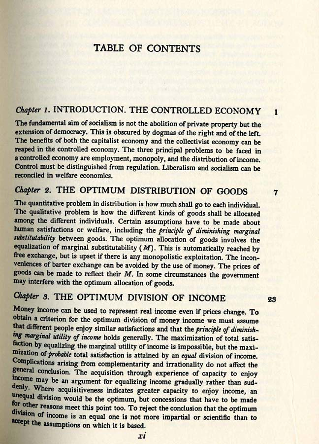 """Table of Contents, Page One, """"The Economics of Control"""" by Abba Lerner"""