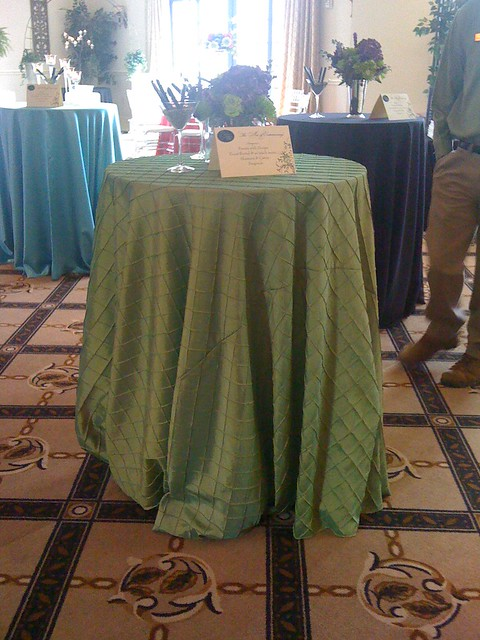 Apple green taffeta pintuck fabric 120 cloths will fit a bistro table or a