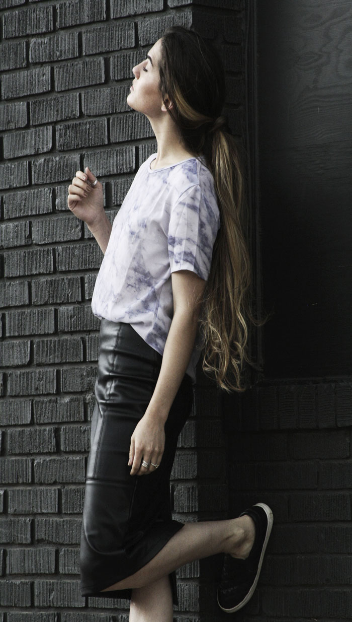 long hair bloggers with modern minimal style fringe of the cro