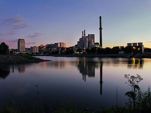 blue sunset summer reflection water minnesota downtown dusk rochester silverlake hdr rochestermn zumbroriver