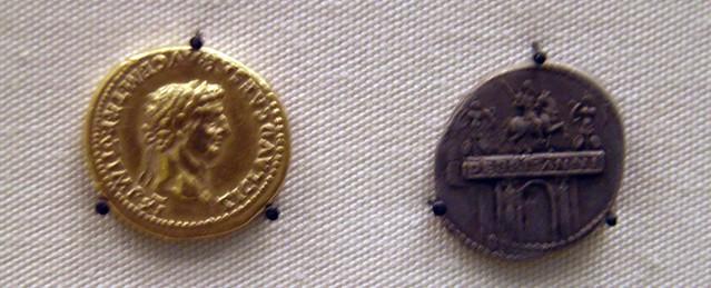 Aureus and Denarius of the Emperor Claudius, Roman Britain, British Museum