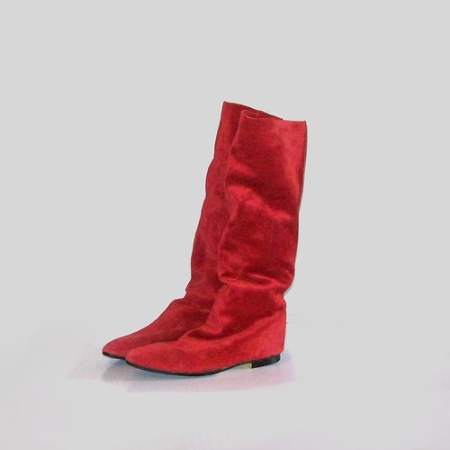 Vintage 80s CANDY APPLE RED Slouchy Boots Size 7