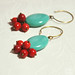 Earrings Turquoise and red glass beads by emeemeSpain