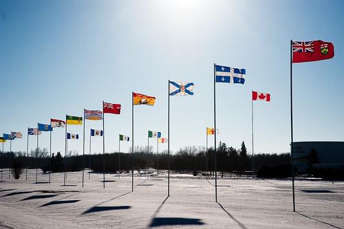 winter sun canada wind flag territories provinces