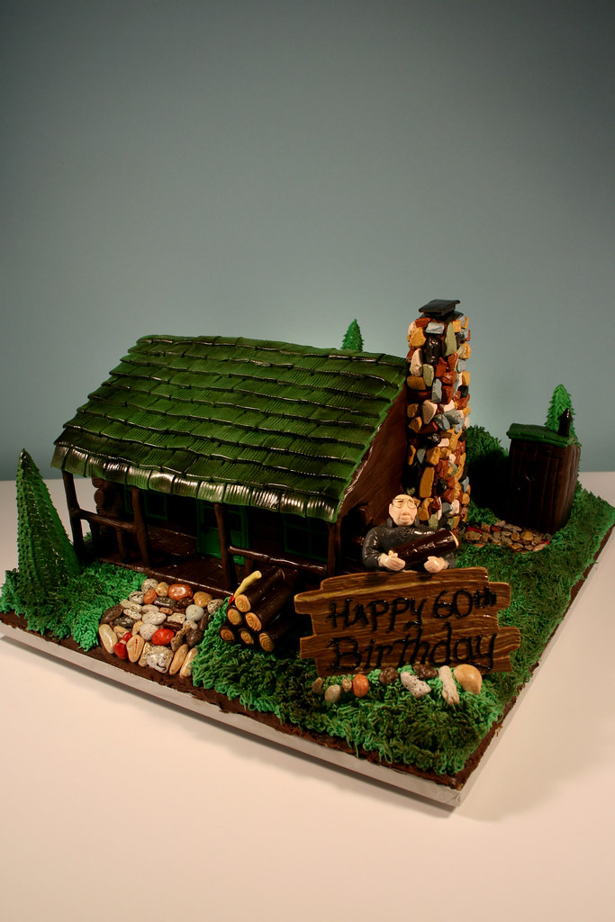 60th Birthday Cabin in Woods cake