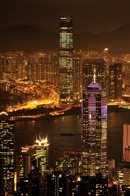 Hong Kong Skyline for ICC and IFC at Night _HXT2336