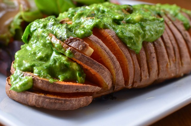 hasselback sweet potatoes with spinach cashew pesto | Flickr - Photo ...