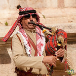 Belting Out a Tune on the Bagpipe - Jerash, Jordan