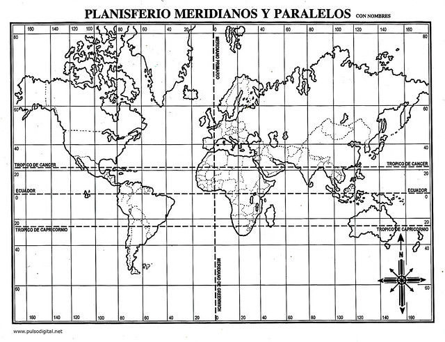 Planisferio Meridianos y Paralelos con nombres | Flickr - Photo ...